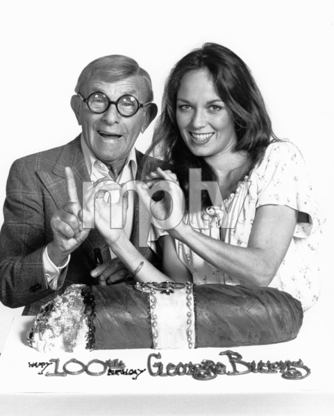 """George Burns and Catherine Bach on theset of """"The Dukes of Hazzard,"""" c. 1982.Photo by Gabi Rona - Image 1001_0615"""