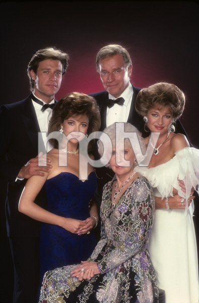 """The Colbys"" John James, Charlton Heston, Stephanie Beacham, Barbara Stanwyck, Emma Samms1985© 1985 Mario Casilli - Image 10831_0043"