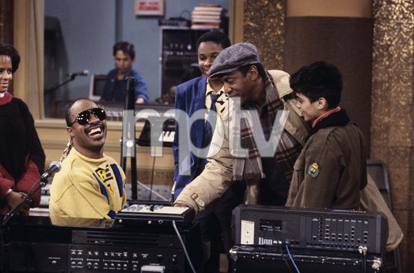 """The Cosby Show"" Malcolm-Jamal Warner, Stevie Wonder, Bill Cosby, Stevie Wonder © 1984 Gene Trindl - Image 10894_0132"