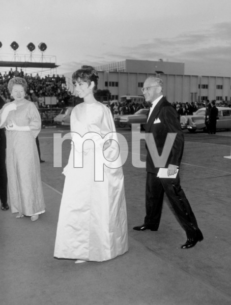 """Academy Awards: 37th Annual,""Audrey Hepburn and George Cukorarrive for the award ceremony.  1965.Photo by Mel Traxel - Image 1185_0016"