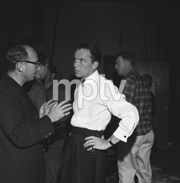 """""""The Frank Sinatra Timex Show"""" (Bing Crosby and Dean Martin Present High Hopes) Sammy Cahn talking with Frank Sinatra behind the scenes 1959 © 1978 Gene Howard - Image 1198_0021"""