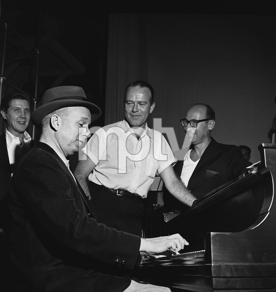"""The Frank Sinatra Timex Show"" (Bing Crosby and Dean Martin Present High Hopes) Bill Miller with Jimmy Van Heusen and Sammy Cahn behind the scenes 1959 © 1978 Gene Howard - Image 1198_0034"