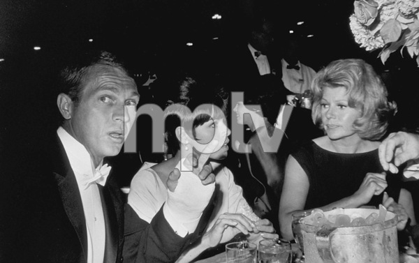 """""""The 36th Annual Academy Awards""""Steve McQueen wife Neile and Rita Hayworth at the Beverly Hilton Hotel1964© 1978 David Sutton - Image 12363_0002"""