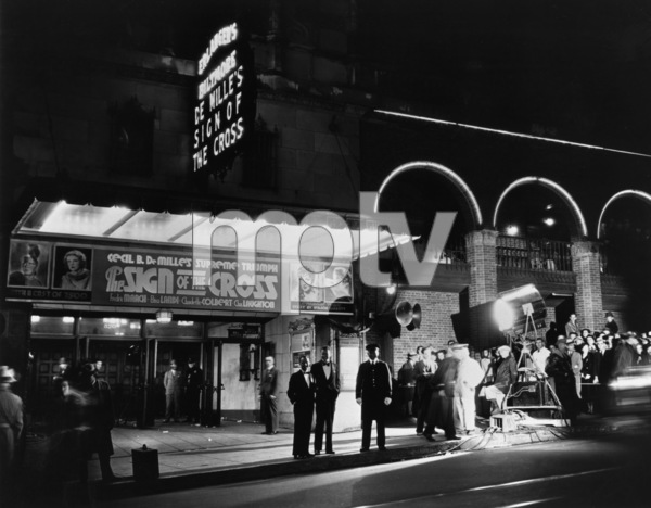 """""""The Sign of the Cross"""" (Premiere)Photographer John Engstead standing under marquee1932 - Image 12649_0001"""