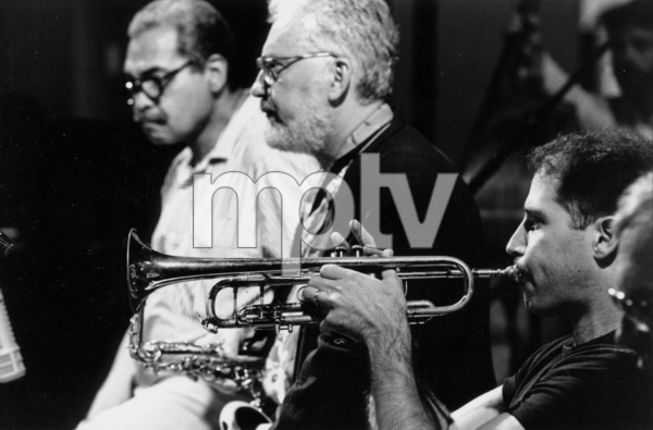 """N.Y. Jazz Giants: Art Farmer, Lee Konitz, and Mike Mossman at the """"Jazz Gipfel"""" concert, Stuttgart, Germany, 1992. © 1978 Bob Willoughby / MPTV - Image 13371_38"""