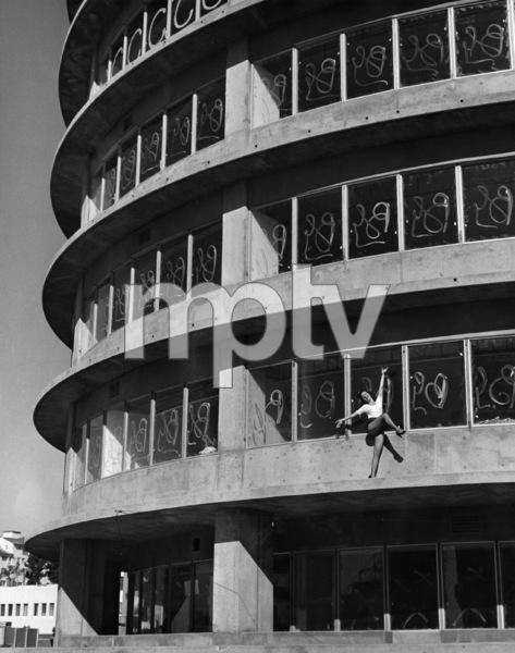 Dancer on unfinished Capitol Records building1956 © 1978 Lou Jacobs Jr. - Image 13480_0045