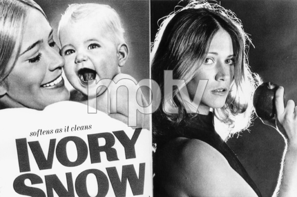 Marilyn Chambers shown on package of Ivory Snow (at left) in 1970, and in a publicity photo (at right) in 1973 - Image 13773_0002