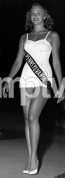 """""""Pageants: Miss America""""Evelyn Margaret Ay, Miss Pennsylvania, walks down the runway in the Miss America contest at Atlantic City1953 - Image 14922_0018"""
