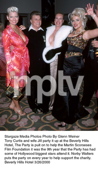 """Night of One Hundred Stars,""Tony Curtis with wife Jill, Jean Kasem,& Anna Nichole Smith. 3/26/00. © 2000 Glenn Weiner - Image 16467_0100"
