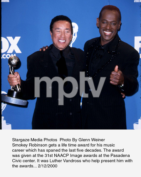 """NAACP Image Awards - 31st,""Smokey Robinson and Luther Vandross.2/12/00. © 2000 Glenn Weiner - Image 16983_0111"
