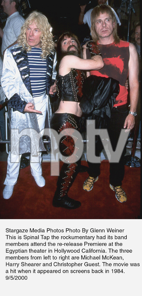 """""""This Is Spinal Tap"""" Premiere (Re-release).9/5/00.  Michael McKean, Harry Shearer,and Christopher Guest. © 2000 Glenn Weiner - Image 17198_0100"""