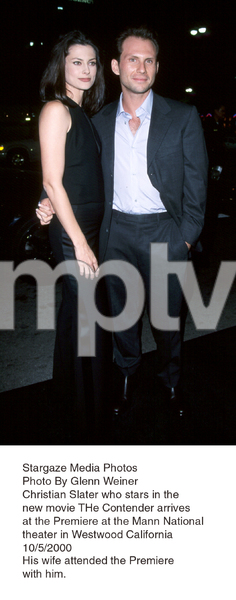 """""""Contender, The"""" Premiere.Christian Slater with wife Ryan Haddon.10/5/00. © 2000 Glenn Weiner - Image 17245_0100"""