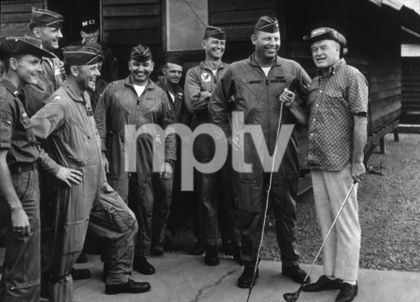 Bob Hope with the Jolly Green Giantshelicoptor rescue teamU.S.O. Christmas tour in Southeast Asia1966Photo By Gerald Smith MPTV - Image 173_486
