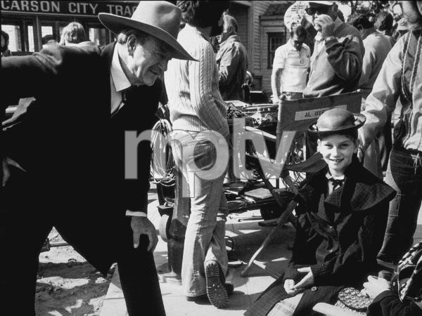 """The Shootist,"" Paramount 1976. John Wayne and his daughter, Marisa, on the set. © 1978 David Sutton - Image 1797_0009"
