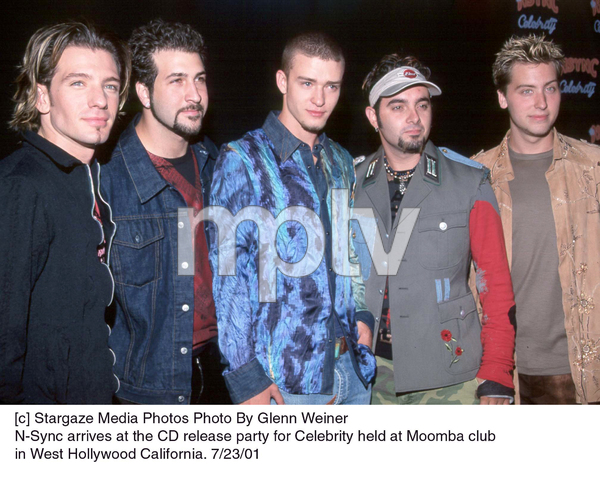 N-Sync(J.C. Chasez, Joseph Fatone, Justin Timberlake, Chris Kirkpatrick, Lance Bass)  arrives at the CD release party for Celebrity held at Moomba club in West Hollywood California. 7/23/01 - Image 18842_0103