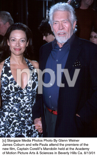 """James Coburn and wife Paula attend the premiere of the new film, Captain Corelli""""s Mandolin held at the Academy of Motion Picture Arts & Sciences in Beverly Hills Ca. 8/13/01. © 2001 Glenn Weiner - Image 19186_0104"""