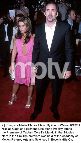 Nicolas Cage and girlfriend Lisa Marie Presley attendthe Premiere of Captain Corelli