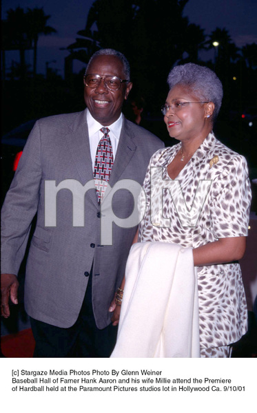 Baseball Hall of Famer Hank Aaron and his wife Millie attend the Premiere of Hardball held at the Paramount Pictures studios lot in Hollywood Ca. 9/10/01. © 2001 Glenn Weiner - Image 19384_0115