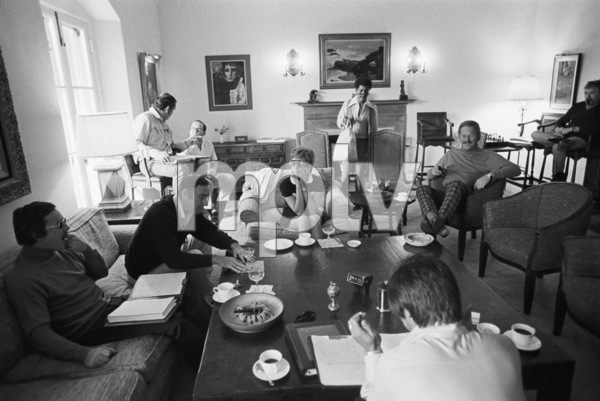 "Dick Smothers, Dick Martin, Carol Burnett, Sammy Davis Jr. and Dan Rowan at a ""Laugh-In"" rehearsal1969 © 1978 Gunther - Image 1941_0092"