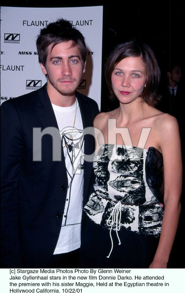 Jake Gyllenhaal stars in the new film Donnie Darko. He attended the premiere with his sister Maggie, Held at the Egyptian theatre in Hollywood California. 10/22/01. © 2001 Glenn Weiner - Image 19647_0103
