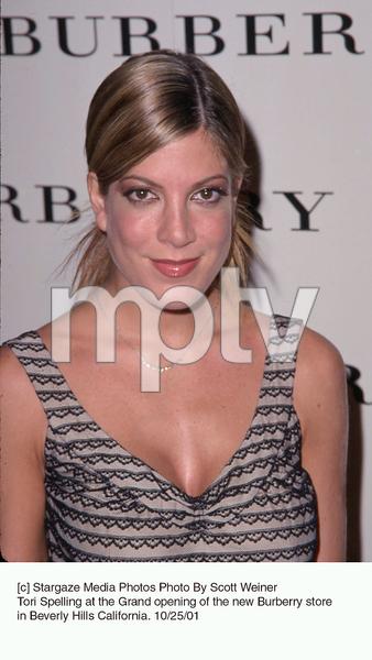 Tori Spelling at the Grand opening of the new Burberry store in Beverly Hills California. 10/25/01. © 2001 Scott Weiner - Image 19653_0113