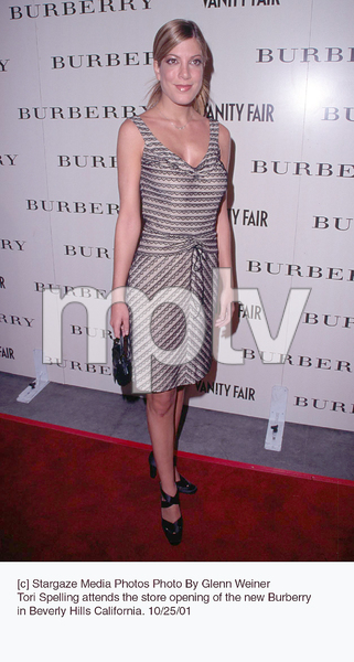 Tori Spelling attends the store opening of the new Burberry in Beverly Hills California. 10/25/01. © 2001 Glenn Weiner - Image 19653_0114