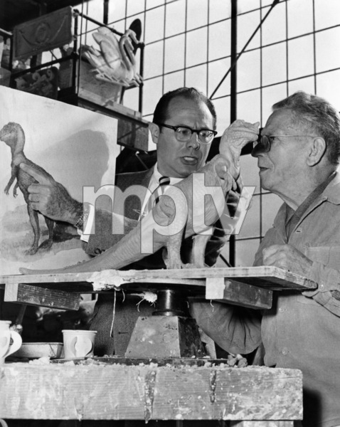 "Irwin Allen and sculptor, Pasqual Manuelli, during the making of ""The Animal World""1956 - Image 20105_0001"