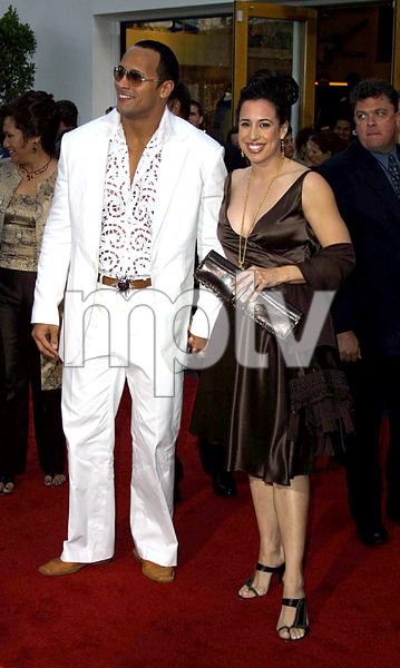 """The Scorpion King"" Premiere 4/17/02The Rock Dwayne Johnson and wife © 2002 Glenn Weiner - Image 20119_0146"