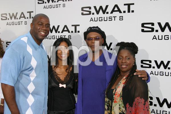 """S.W.A.T."" Premiere 7-30-03Earvin ""Majic Johnson, wife, Samuel L. Jackson, wifePhoto By Sam Kweskin - Image 21354_0055"