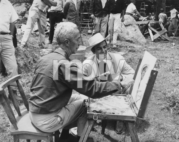 """Norman Rockwell painting Mike Connors portrait during the making of """"Stagecoach""""1966 20th Century Fox - Image 2217_0010"""
