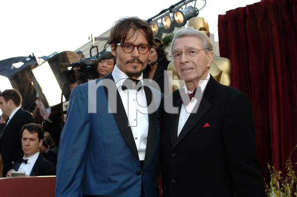 Best Actor Academy Award nominee Johnny Depp poses with Army Archerd before the 77th Annual Academy Awards at the Kodak Theatre in Hollywood, CA on Sunday, February 27, 2005.  HO/AMPAS - Image 22270_0117