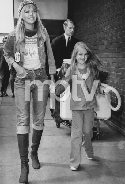 Britt Ekland with her daughter Victoriaat a London airport1972 - Image 2325_0108