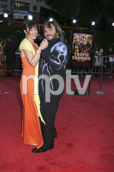 """""""Tropic Thunder"""" Premiere Jack Black, Tanya Haden 8-11-2008 / Mann Village Theater / Los Angeles, CA / Dreamworks / Photo by Max Rodeo - Image 23587_0039"""