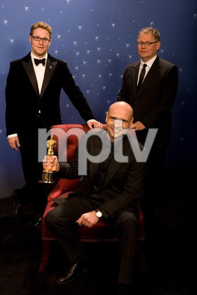 """The 81st Annual Academy Awards"" (Backstage)Jochen Alexander Freydank, Seth Rogen, Janusz Kaminski02-22-2009Photo by Todd Wawrychuk © 2009 A.M.P.A.S. - Image 23704_0275"