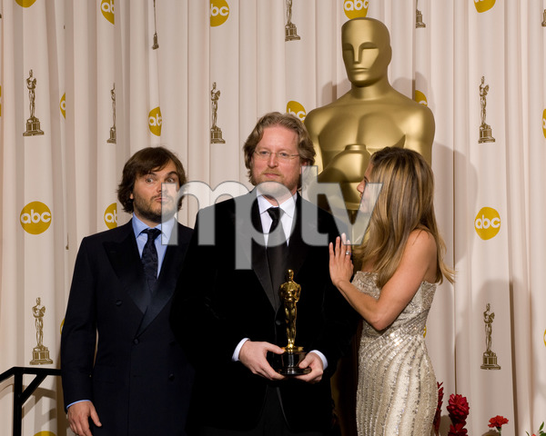 """The 81st Annual Academy Awards"" (Press Room)Jack Black, Andrew Stanton, Jennifer Aniston02-22-2009Photo by Bryan Crowe © 2009 A.M.P.A.S. - Image 23704_0290"
