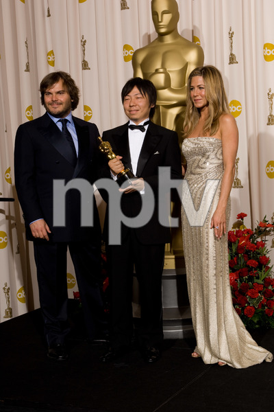 """The 81st Annual Academy Awards"" (Press Room)Jack Black, Kunio Kato, Jennifer Aniston02-22-2009Photo by Bryan Crowe © 2009 A.M.P.A.S. - Image 23704_0292"