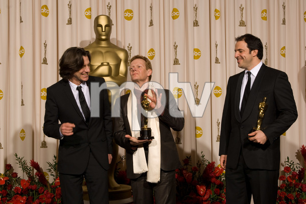 """""""The 81st Annual Academy Awards"""" (Press Room)James Marsh, Simon Chinn, Philippe Petit02-22-2009Photo by Bryan Crowe © 2009 A.M.P.A.S. - Image 23704_0321"""