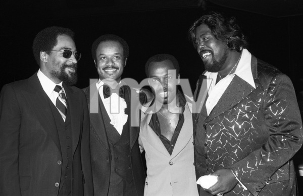 Kenny Gamble (co-founder of Philly International Records), Rod McGrew (executive with Unlimited Gold Records), Leon Huff (co-founder of Philly International Records) and Barry White at a CBS Records party in Los Angeles 1978 © 1978 Bobby Holland - Image 23798_0006