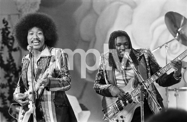 "Kenji Brown, Lequeint ""Duke"" Jobe of Rose Royce during the making of a music video in Los Angeles 1978 © 1978 Bobby Holland - Image 23832_0018"