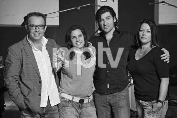 The Matrix production team at Sound City Studios in Los Angeles (Left to right: Graham Edwards, Christelle Dussault, Scott Spock, Lauren Christy)2009 © 2009 Bobby Holland - Image 23961_0002