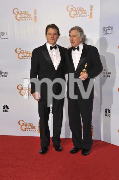 """The Golden Globe Awards - 68th Annual"" (Press Room)Matt Damon, Robert De Niro1-16-2011 © 2011 Jean Cummings - Image 24010_0354"
