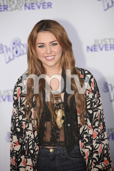 """""""Justin Bieber: Never Say Never"""" Premiere Miley Cyrus 2-8-2011 / Nokia Theater L.A. Live / Paramount Pictures / Los Angeles CA / Photo by Imeh Akpanudosen - Image 24016_0473"""