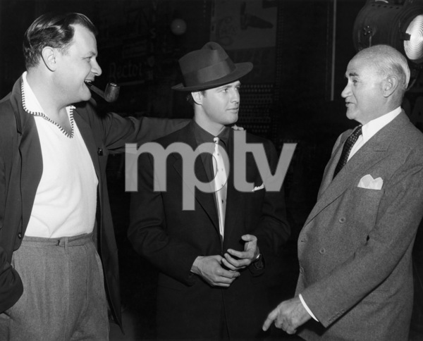 "Joseph L. Mankiewicz, Marlon Brando and Samuel Goldwyn on the set of ""Guys and Dolls""1955 MGM** B.D.M. - Image 24293_0150"
