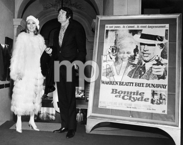 "Faye Dunaway and Warren Beatty at the Paris premiere of ""Bonnie and Clyde""January 1968** B.D.M. - Image 24293_0488"