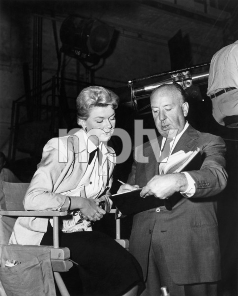 """Doris Day and Alfred Hitchcock on the set of """"The Man Who Knew Too Much""""1956 Paramount** B.D.M. - Image 24293_0541"""