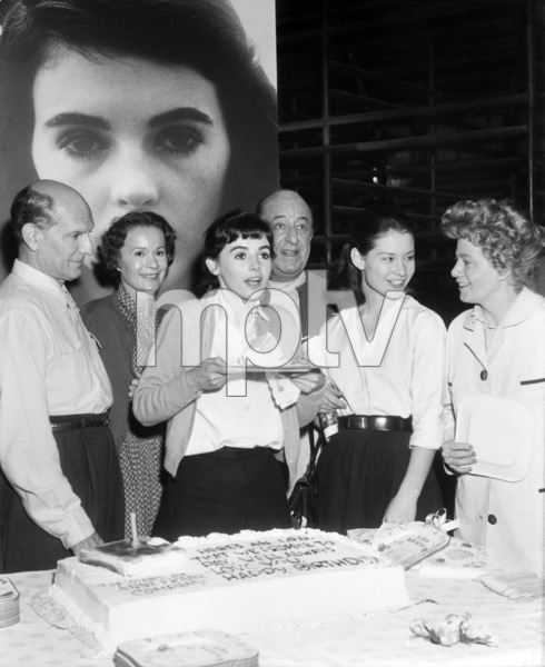 "Joseph Schildkraut, Gusti Huber, Millie Perkins, Ed Wynn, Diane Baker and Shelley Winters celebrated the 20th birthday of Millie Perkins on the set of ""The Diary of Anne Frank""1959 20th Century-Fox** B.D.M. - Image 24293_0693"