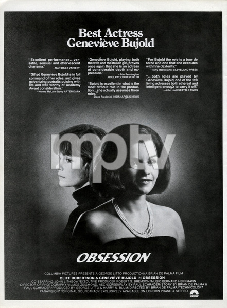 """Oscar consideration ad for Genevieve Bujold as Best Actress in """"Obsession""""1976 Columbia** B.D.M. - Image 24293_1947"""