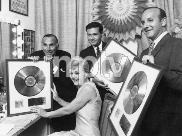 """Goddard Lieberson, Angela Lansbury, Jerry Herman and Clive J. Davis with their Gold Record awards for the cast album of """"Mame""""1966** I.V. - Image 24322_0227"""