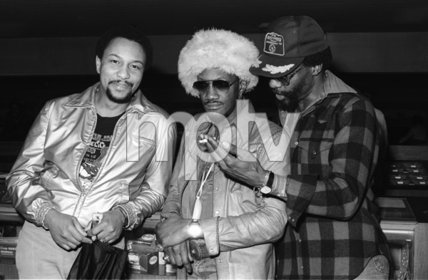 "Bernie Worrell and Raymond ""Ray"" Davis during the  Parliament-Funkadelic Earth Tourcirca mid 1970s© 1978 Bobby Holland - Image 24331_0056"