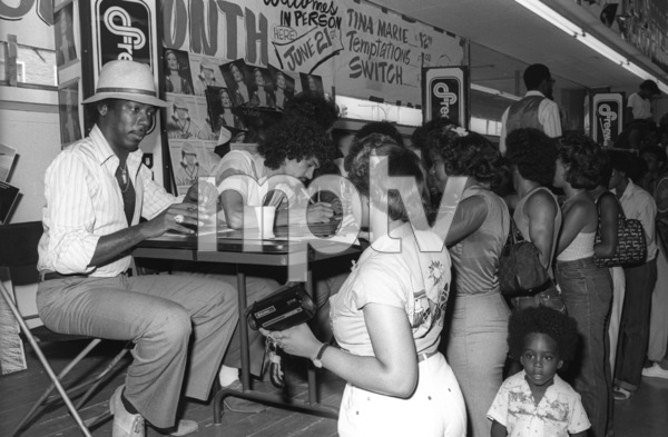 Switch (Phillip Ingram, Gregory Williams, Eddie Fluellen, Bobby DeBarge, Tommy DeBarge, Jody Sims) / Motown Records in-store sales promotion at Freeway Records in Los Angeles, CAcirca 1979© 1979 Bobby Holland - Image 24331_0212